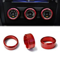 Aluminum AC Climate Control Knob Ring Covers For Subaru Impreza WRX/STi Red