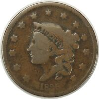 1835 1C CORONET HEAD LARGE CENT (042620) HEAD OF 1836 - VG+ CONDITION!