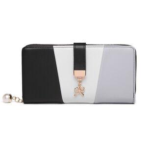 Ladies Faux Leather Tri Colour Clutch Bag Girls Purse Long Card Package Wallet