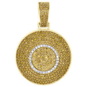 10K Yellow Gold Real Diamond Dome Puff Medallion Pendant Men's Pave Charm 1 CT.