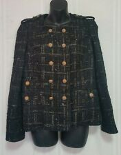 Original Milly Of New York Black & Gold Metallic Double Breasted Jacket Size 6