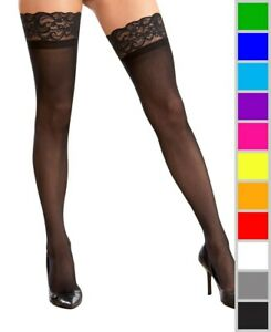 New Dreamgirl 7030X Plus Size Stay Up Silicone Lace Top Thigh High Stockings