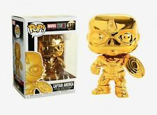 Captain America~Funko POP (Gold Chrome) Figure #377-Marvel Studios:10 Years ~NIB