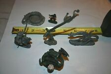 Fantasy Pewter Figures Dragons, Ninja, Sword Lot Of 8 some painted nicely..