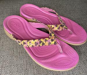CROCS Capri V Sequin Women's 10 Pink Tropical Thong Flip Flop Dual Comfort