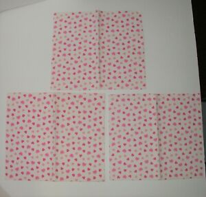 """(3) Baby Cotton Lap Pads Waterproof ~ Pink Valentines ~ 12"""" x 13.5"""""""