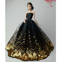 Luxury Black Wedding Party Dress Gold Sequins Clothes Grows for 11inch Doll Gift