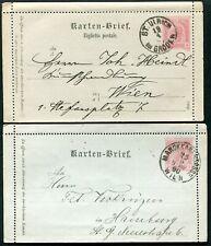 Austria 1890 5kr postal stationery letter cards x2 Mi K.22 & K.24 used