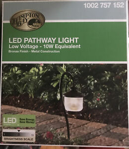 Hampton Bay Path Light Outdoor Landscape 12V Integrated LED Cleated Bronze