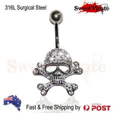 Skull Jewelled Belly Navel Banana Ear Body Piercing Jewellery Swarovski Crystals