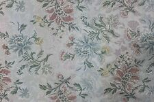 6 YDS PASTEL FLORAL BROCADE FABRIC Upholstery Victorian French Rose Blue Flower