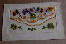WW1 Silk postcard Allied Flags Lucky four leafed Clover.