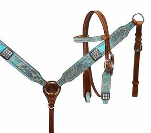 Western Pony Size Horse Tack Set Bridle + Breast Collar W / Crystal Rhinestones