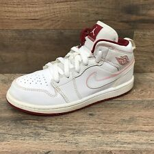 Air Jordan 1 Retro GS Boys Size 2.5 Y High Top Shoes White Red 640734-103