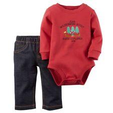 Carter's NB Newborn Baby Boy Outfit Wilderness Scout Shirt Jeans Long Sleeve