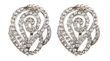 CLIP ON EARRINGS -  silver swirl stud earring with clear crystals - Kamin