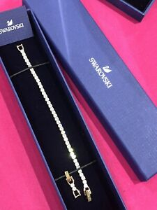 Swarovski Tennis Deluxe Bracelet Rose Gold New Gift Box Large Crystal Sparkle