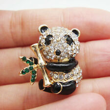 Lovely Animal Panda Gold-tone Brooch Pin Clear Rhinestone Crystal Cute gifts