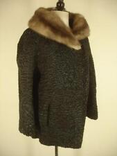 Vtg womens XL black CURLY PERSIAN LAMB & Mink fur coat jacket Schiaparelli Paris