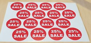 """Retail """"25% Sale"""" Stickers - 48 stickers per pack (3 sheets of 16). 37mm dia"""