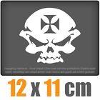 CROIX DE FER Crâne 12 x 11 cm Sticker Voiture Automatique Blanc Autocollant pour