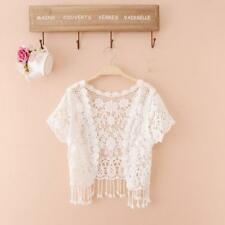 New Ladies Knitted Crochet Shrug Short Sleeve Bolero Women Cardigan