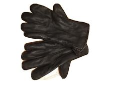 Black leather & Wool Lined Gloves