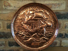 """Excelente Circa 1900 artesanías Art Nouveau 14"""" Cargador De Cobre hundido Newlyn"""