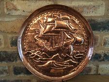 "Superb Circa 1900 Arts & Crafts Art Nouveau 14"" Newlyn Copper Galleon Charger"