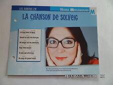 CARTE FICHE PLAISIR DE CHANTER NANA MOUSKOURI LA CHANSON DE SOLVEIG