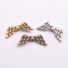50Pcs Tibetan Silver Gold Bronze Heart Angel Wing Spacer Charms Beads A57