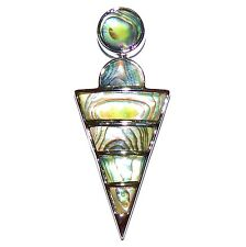 P2160L2 Abalone Shell 61mm Triangle Drop Pendant w Silver Brass Setting & Bail