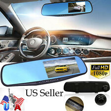 "170°Full HD 1080P 4.3"" Video Recorder Dash Cam Rearview Mirror Car Camera DVR US"