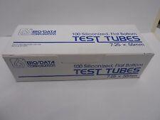 SEALED BOX OF 100 BIO/DATA CORP. 101521 SLICONIZED FLAT BOTTOM MICRO TEST TUBES