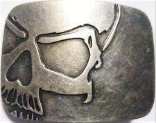 """♈ SKULL   ♈ Antique Silver Color  3.2""""x 2.5"""" Skeleton Belt Buckle"""