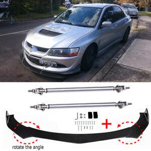 Front Bumper Lip Spoiler Splitter + Strut Rods For MITSUBISHI Lancer Evolution