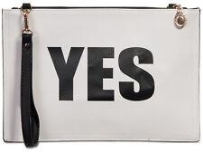 New Yes No Slogan Print Clutch Bag Vintage Retro Purse Party Evening Handbag