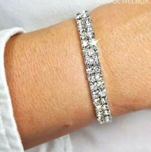 Ladies Silver Tennis Bracelet Cubic Zirconia Crystal Elastic Bridesmaid Gift UK