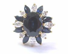 Fine Gem Sapphire Diamond Yellow Gold Anniversary Jewelry Ring 2.48Ct 14KT