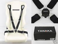"TANAKA UNIVERSAL BLACK 4 POINT CAMLOCK QUICK RELEASE RACING SEAT BELT HARNESS 2"""