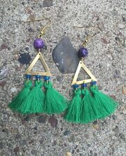 One Of A Kind Emerald Green Tassel & Triangle Brass Purple Jasper Gold Earrings