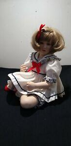 Vintage 1995 Pamela Phillips Porcelain doll, sailor girl sitting