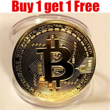 1PCS Gold+1PCS Free Silver Bitcoin Commemorative Coin Collectible Gift BTC Coin