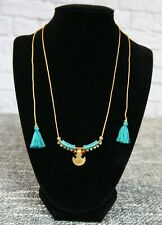 New CHAN LUU adjustable turquoise pendant necklace jewelry tassels
