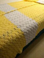 Afghan Crochet Blanket TWIN SIZE Vintage Throw Yellow and White Seasonal