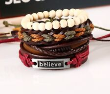 Stackable Leather Bracelets Set for Men Women Leather Beaded Stretchy Cuff 4pcs