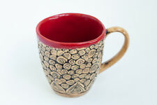 Red Ceramic Coffee Mug Abstract Pattern Handmade Pottery Unique