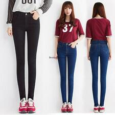 Korean Womens Denim High Waist Skinny Slim Stretch Pencil Jeans Pants Trousers