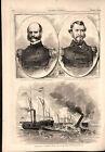 Destruction of Commodore Lynch's Civil War naval Fleet 1862 historical print