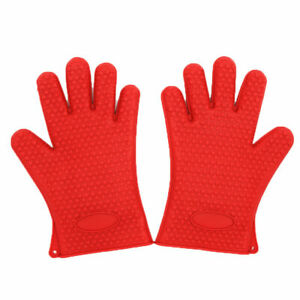 Heat Resistant Silicone Gloves Kitchen Oven Cooking Mitts No Lining Easy Clean